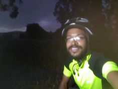 The dusk is over me. Taking a break from some hill